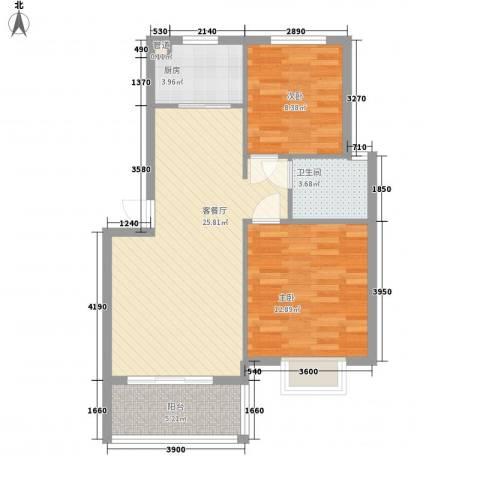 鸿威鸿景雅园2室1厅1卫1厨85.00㎡户型图