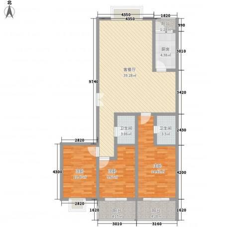 西区新干线3室1厅2卫1厨136.00㎡户型图