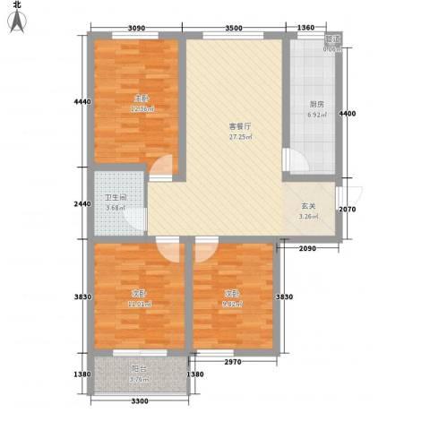 东润国际新城3室1厅1卫1厨108.00㎡户型图