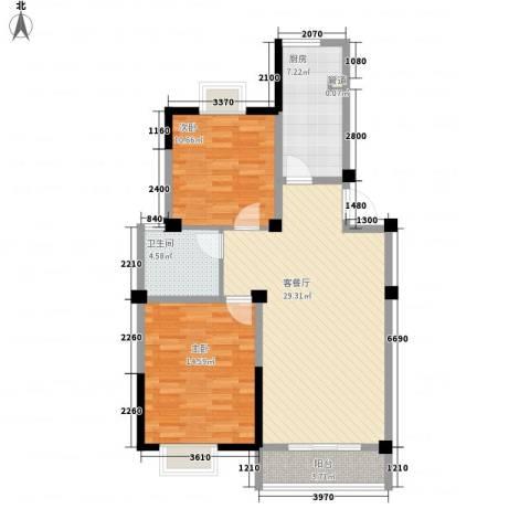 金色新城熙园2室1厅1卫1厨95.00㎡户型图
