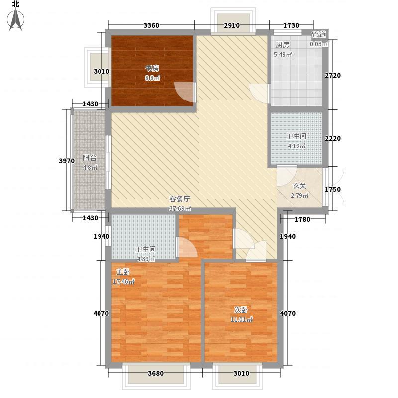 城南都市嘉园户型图C-1-1-1_缩小大小 3室2厅2卫