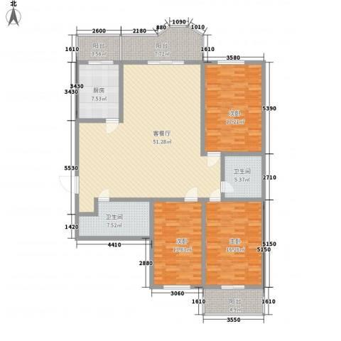远东公寓3室1厅2卫1厨190.00㎡户型图