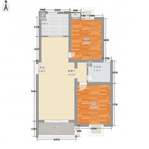 顺园六村2室1厅1卫1厨82.00㎡户型图