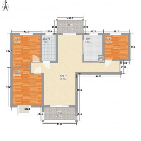 鸿威鸿景雅园3室1厅1卫1厨111.00㎡户型图