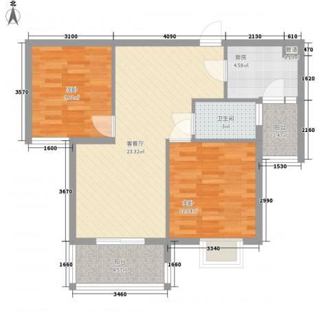 鸿威鸿景雅园2室1厅1卫1厨84.00㎡户型图