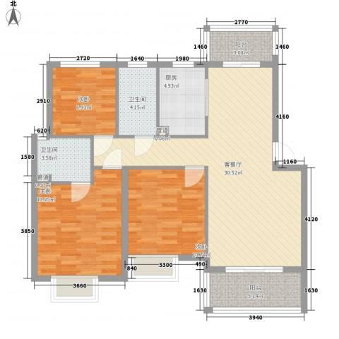 鸿威鸿景雅园3室1厅2卫1厨117.00㎡户型图