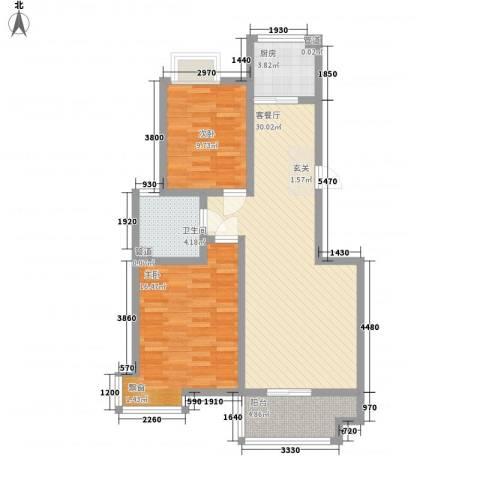 城南都市嘉园二期2室1厅1卫1厨100.00㎡户型图