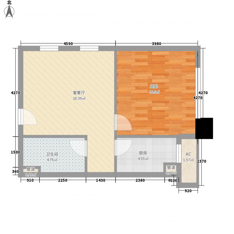 正大国际广场66.47㎡一期6#楼A户型1室1厅1卫1厨