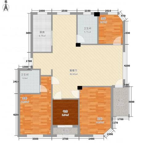 金湾新城四期4室1厅2卫1厨119.53㎡户型图