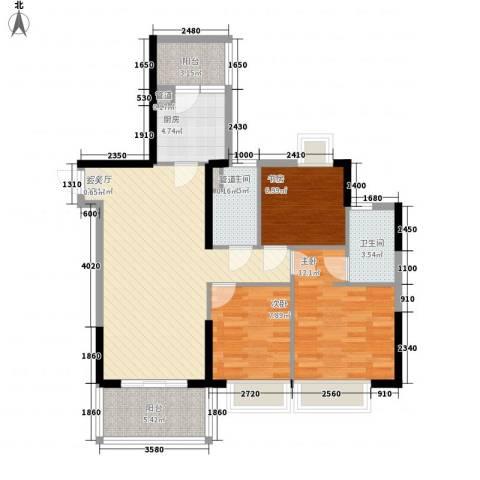 大信时尚家园3室1厅2卫1厨85.67㎡户型图