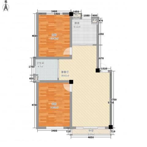 咖啡小镇2室1厅1卫1厨90.00㎡户型图