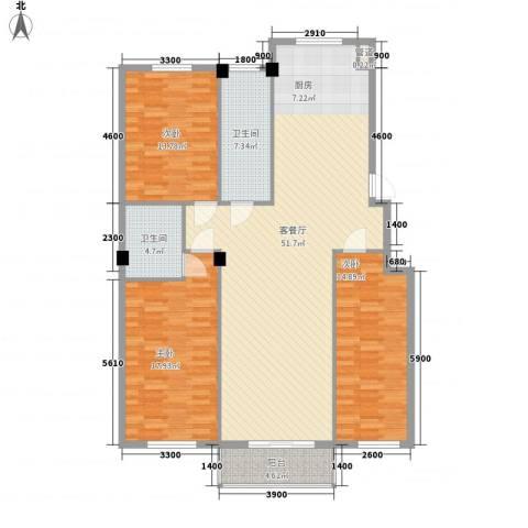 金湾新城四期3室1厅2卫0厨126.17㎡户型图