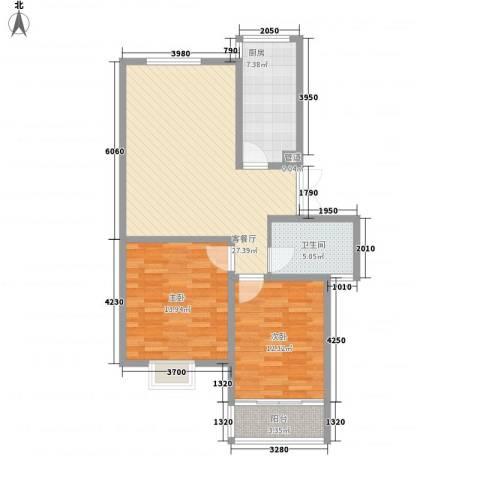 金色新城熙园2室1厅1卫1厨99.00㎡户型图