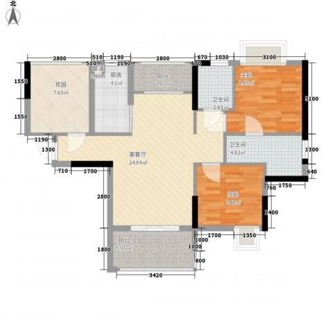 南国雅苑二期御江2室1厅2卫1厨90.00㎡户型图
