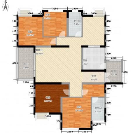 兰亭坊4室1厅2卫1厨182.00㎡户型图