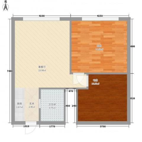 丽骏豪庭二期2室1厅1卫0厨58.92㎡户型图