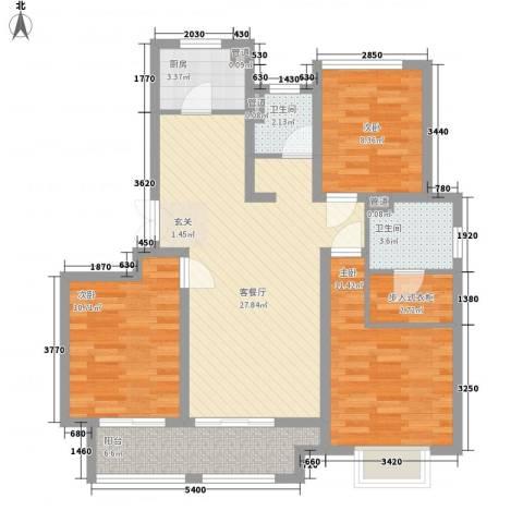 农房檀府3室1厅2卫1厨112.00㎡户型图