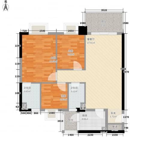 精英名都二期3室1厅2卫1厨101.00㎡户型图