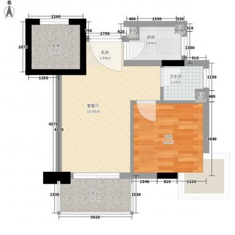 精英名都二期1室1厅1卫1厨43.00㎡户型图