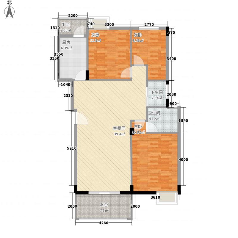 龙胤凤凰城12.00㎡D1户型3室2厅2卫1厨