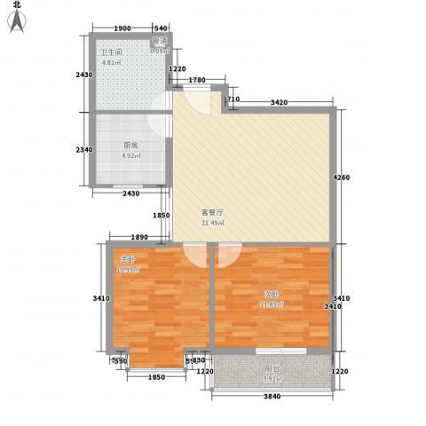 滨河城・左岸2室1厅1卫1厨65.00㎡户型图
