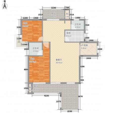 海滨花园2室1厅2卫1厨92.66㎡户型图