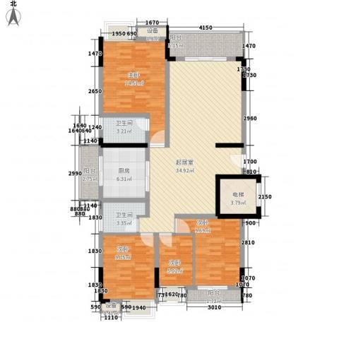 勒水名筑4室0厅2卫1厨147.00㎡户型图