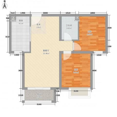 太华路鑫园小区2室1厅1卫1厨80.00㎡户型图