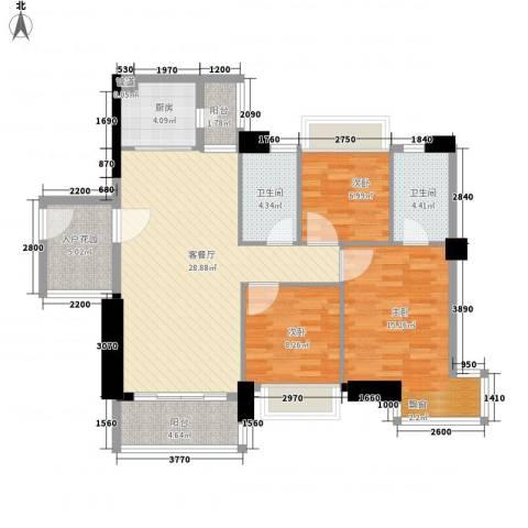 阳光海岸晶岸3室1厅2卫1厨99.00㎡户型图