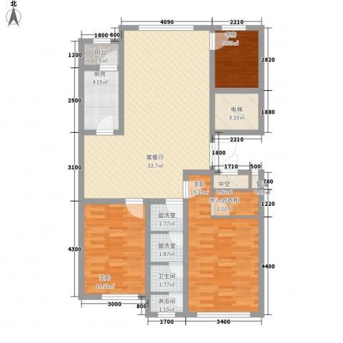 咖啡小镇3室1厅1卫1厨106.00㎡户型图