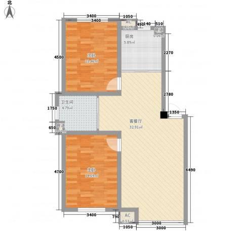 咖啡小镇2室1厅1卫1厨92.00㎡户型图