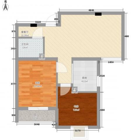 轻工设计院宿舍2室1厅1卫1厨70.00㎡户型图