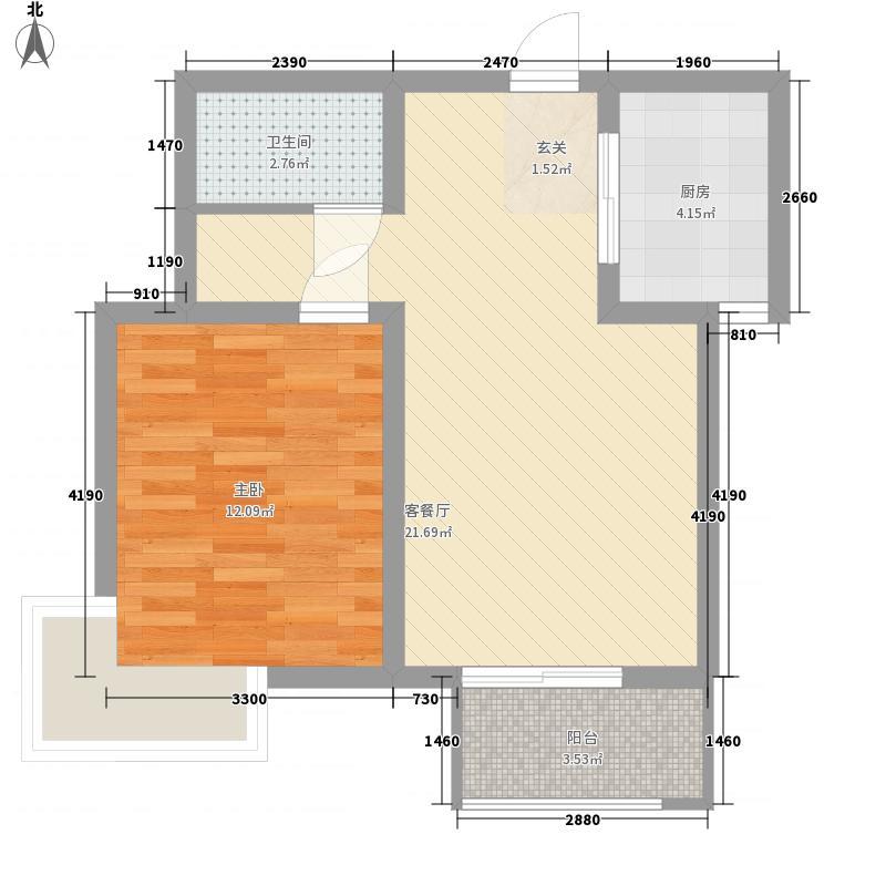 卓达香水海二期苏格兰城65.25㎡卓达香水海二期苏格兰城户型图电梯洋房H1-B户型1室2厅1卫1厨户型1室2厅1卫1厨