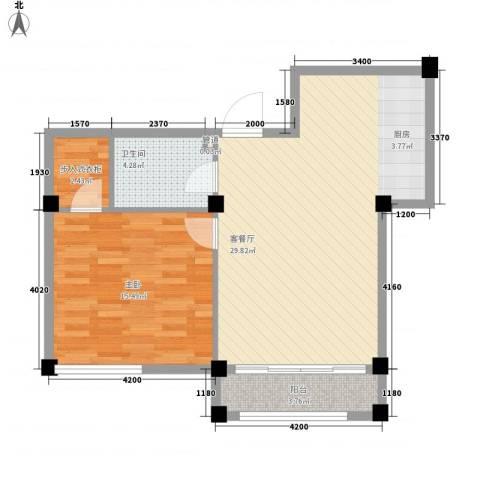 金湾新城二期1室1厅1卫0厨62.45㎡户型图
