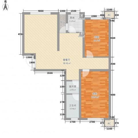 咖啡小镇2室1厅1卫1厨101.00㎡户型图