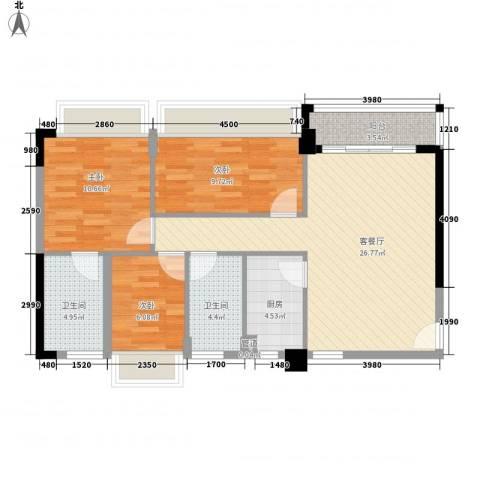 阳光海岸晶岸3室1厅2卫1厨97.00㎡户型图