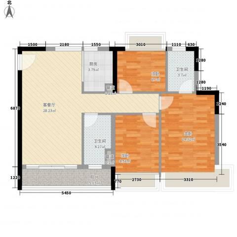 阳光海岸晶岸3室1厅2卫1厨96.00㎡户型图