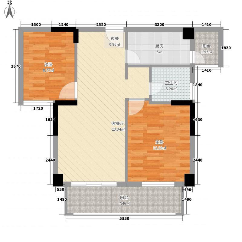宝龙将军一号8.00㎡2#楼B3户型2室2厅1卫