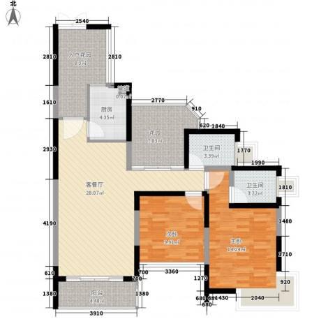 新世纪星城三期2室1厅2卫1厨121.00㎡户型图