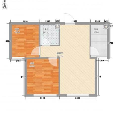金湾新城三期2室1厅1卫1厨51.46㎡户型图