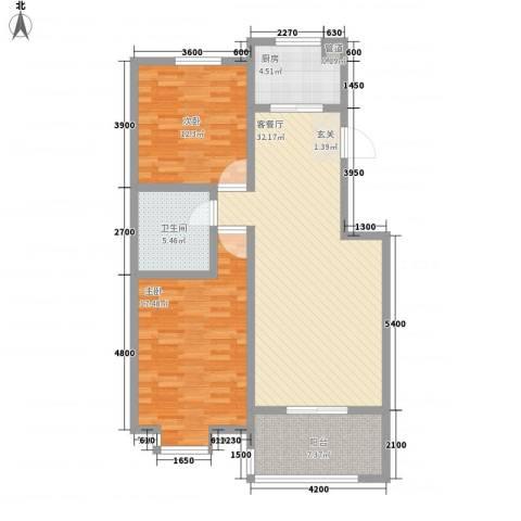 河畔明珠滨江公寓2室1厅1卫1厨114.00㎡户型图