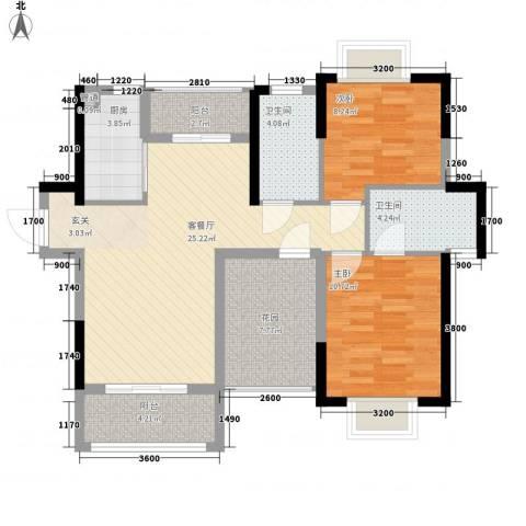 南国雅苑二期御江2室1厅2卫1厨95.00㎡户型图