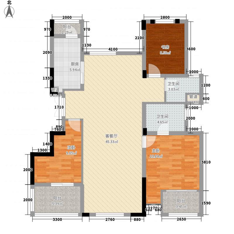 紫玉山庄121.84㎡二期03栋4层402、403室户型3室2厅2卫1厨