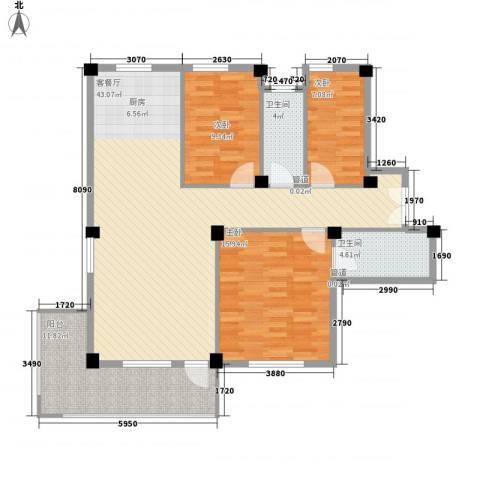 金湾新城二期3室1厅2卫0厨106.38㎡户型图