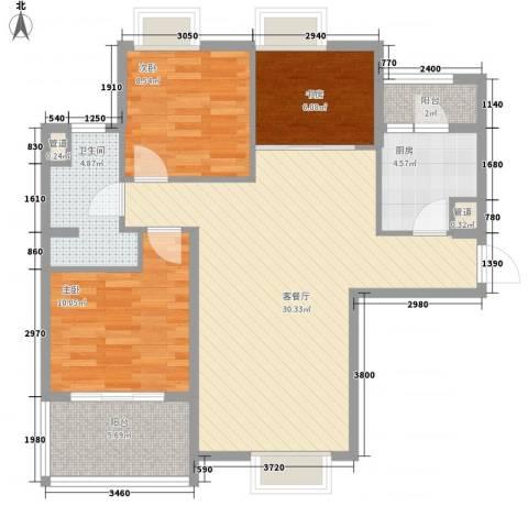 昌盛双喜城3室1厅1卫1厨112.00㎡户型图