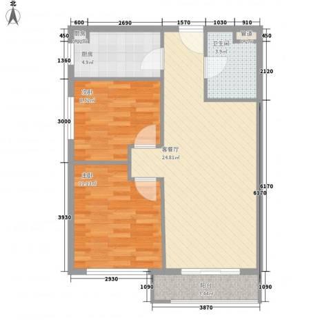 金湾新城三期2室1厅1卫2厨63.62㎡户型图