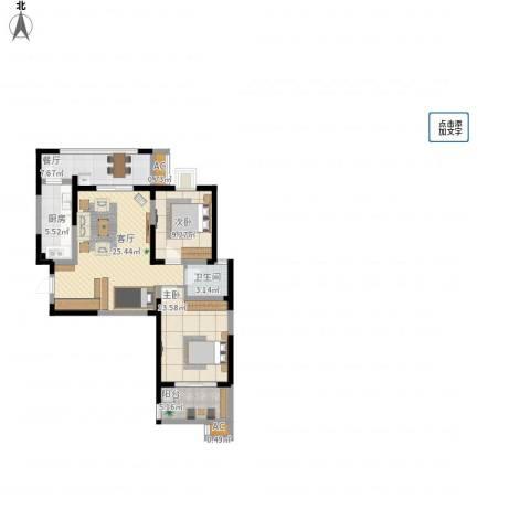 金业观湖大第2室2厅1卫1厨104.00㎡户型图
