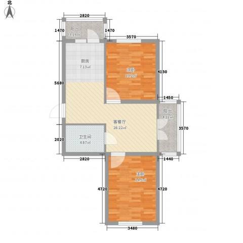 东辉明珠园2室1厅1卫0厨66.18㎡户型图