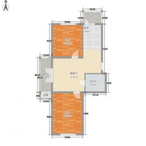 东辉明珠园2室1厅1卫0厨116.00㎡户型图