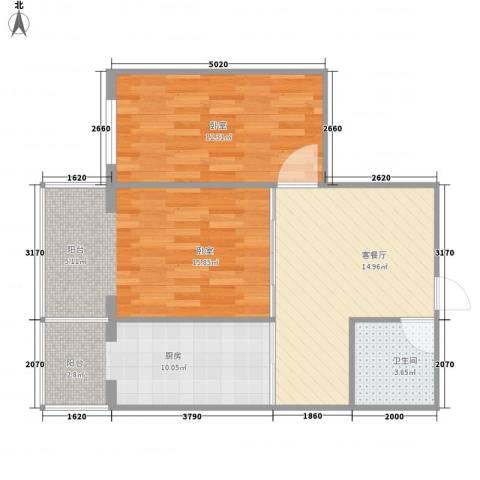 应赫金海城1厅1卫1厨56.83㎡户型图